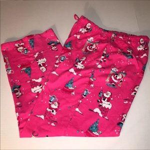 MUNKI MUNKI Sz L Pink Santa Pajama Pants